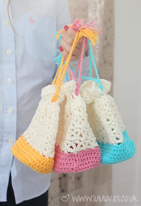 Crochet Lacy Giftbags - Lululoves for Inside Crochet Issue 49