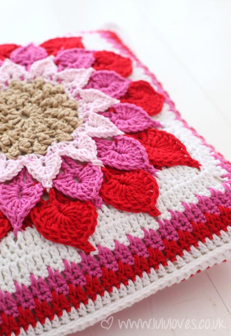 Crochet Crocodile Flower Cushion