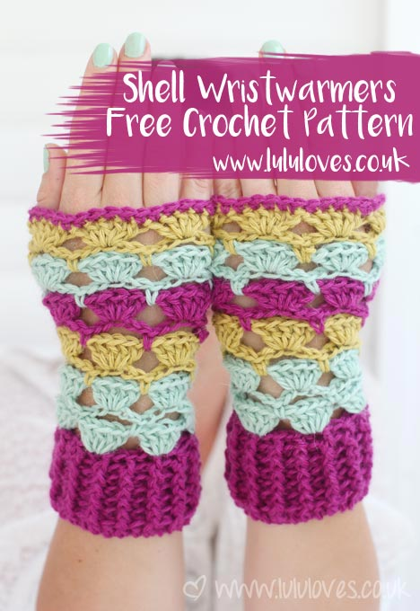 Crochet Shell Wrist-warmers Free Pattern | Lululoves Blog